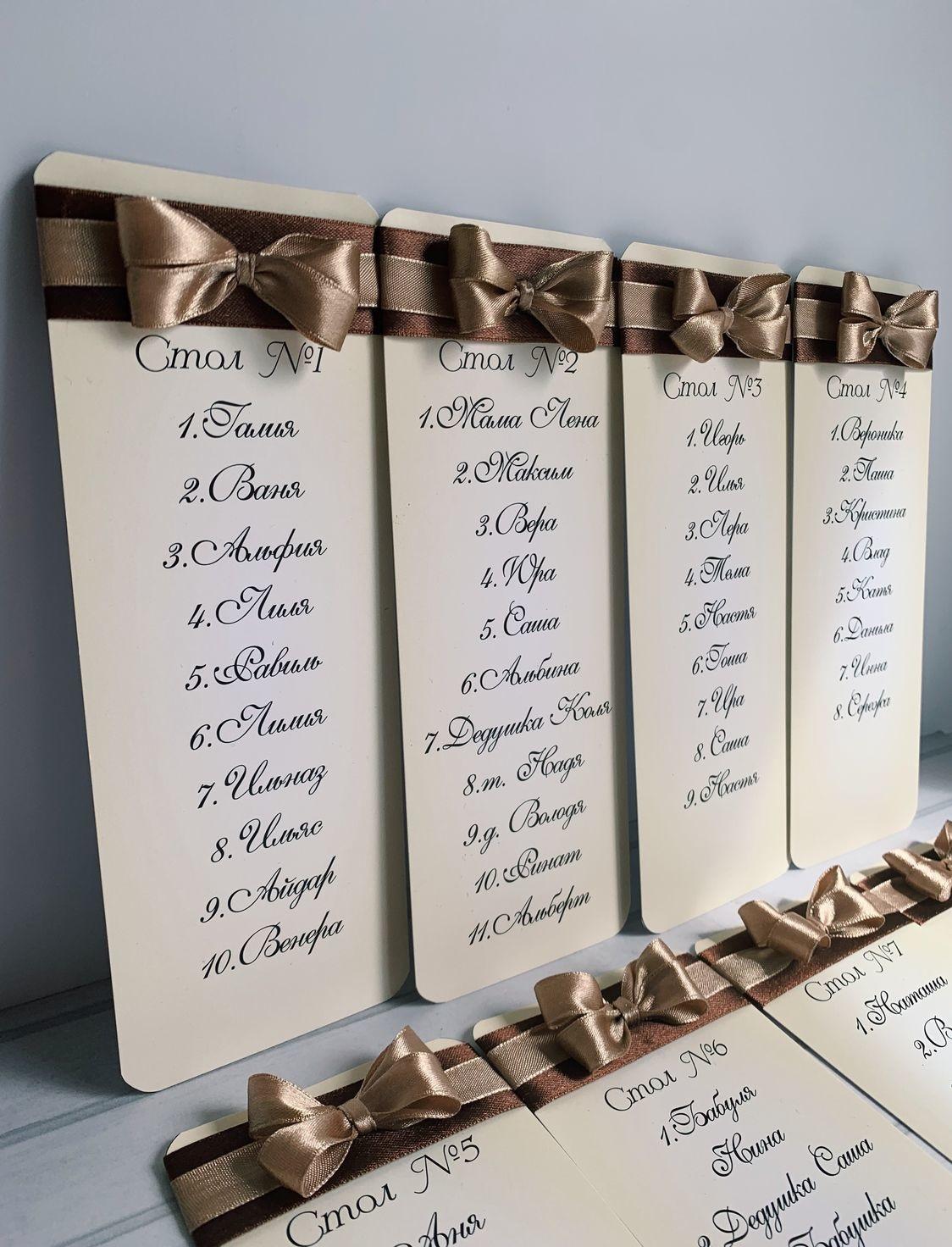 Изготовление рассадочных банкетных карточек для свадьбы в Москве | фото 6