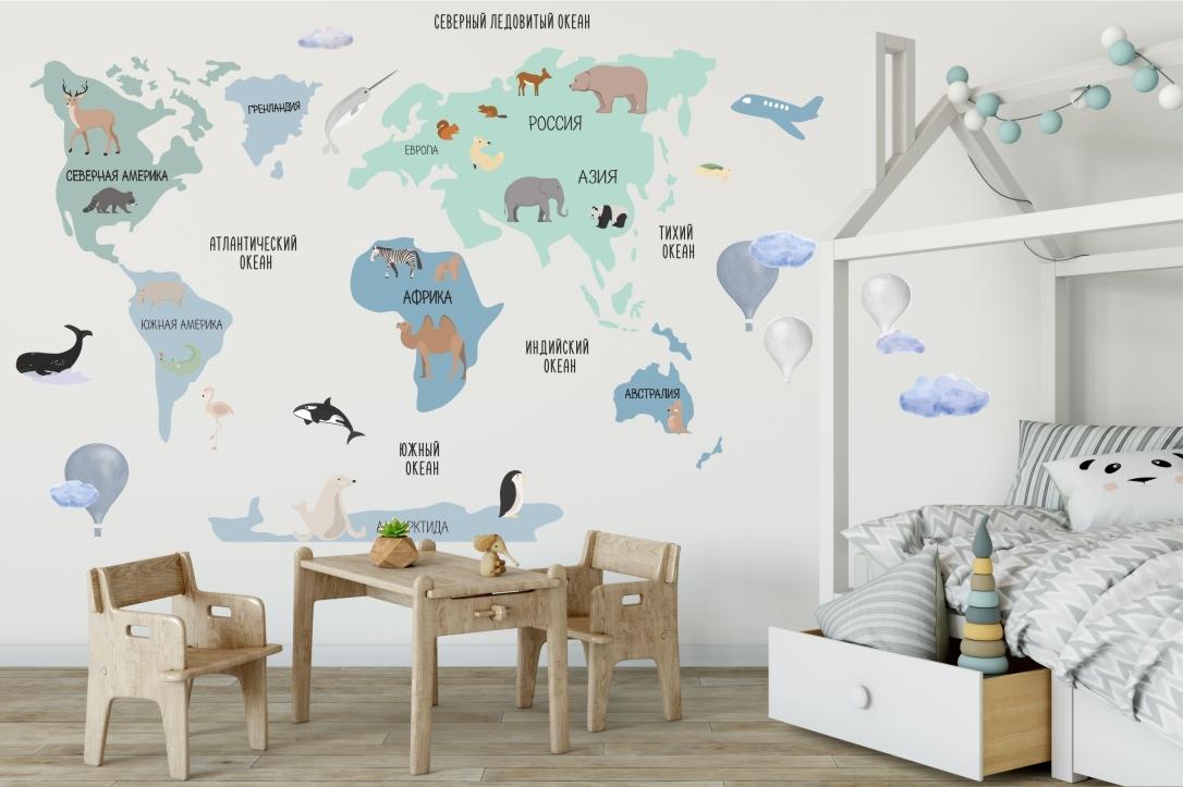 Печать интерьерных наклеек карта мира в Москве | фото 7