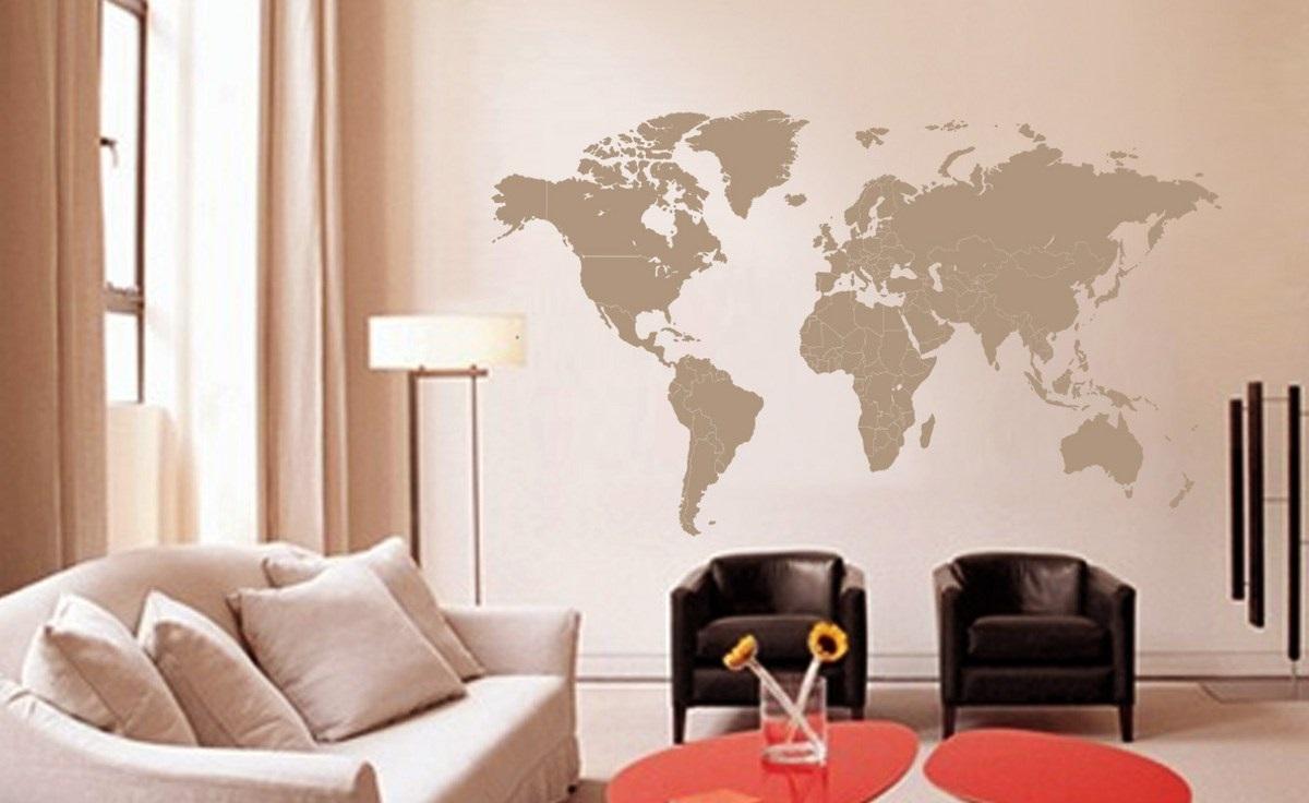 Печать интерьерных наклеек карта мира в Москве | фото 5