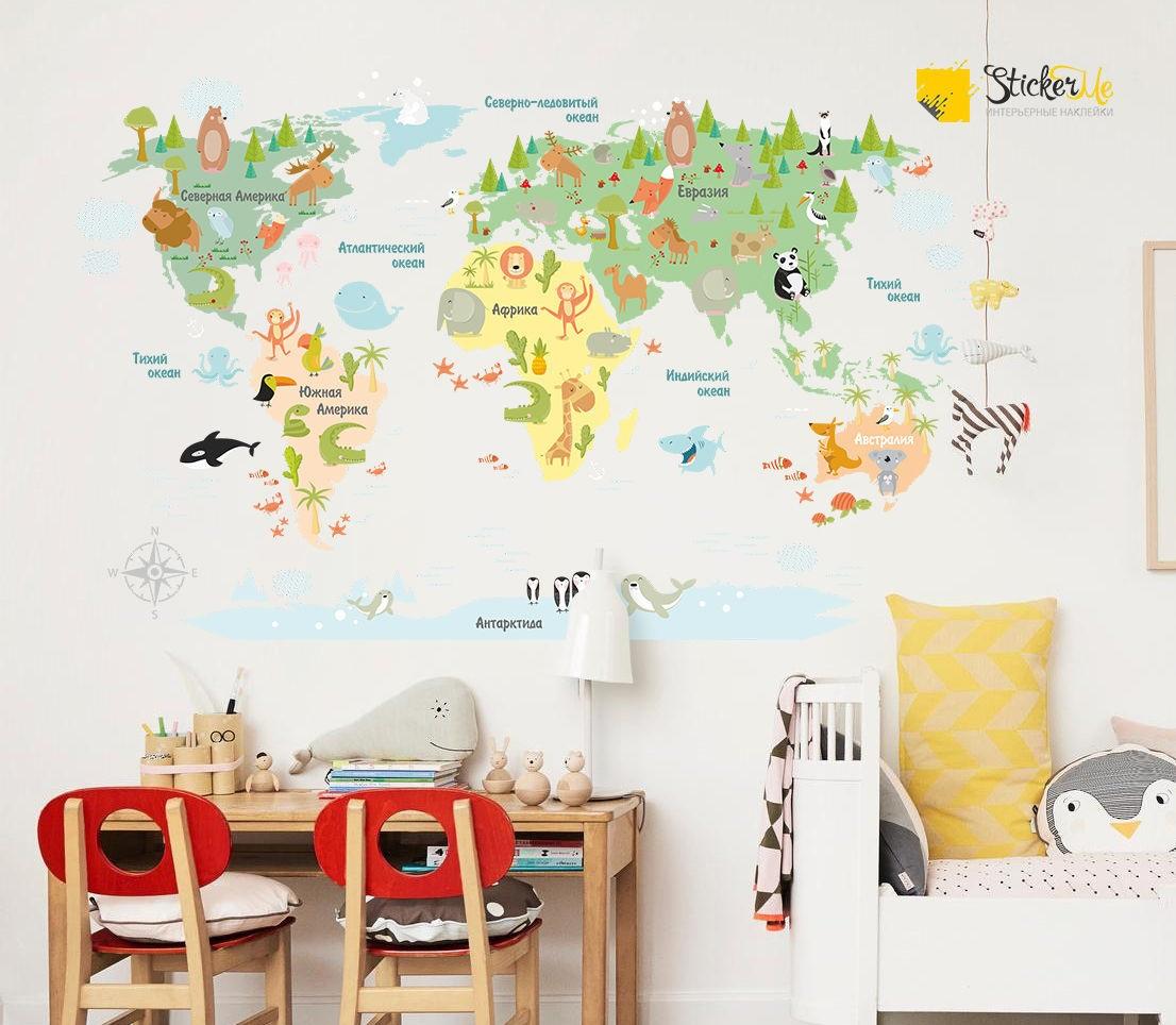 Печать интерьерных наклеек карта мира в Москве | фото 4