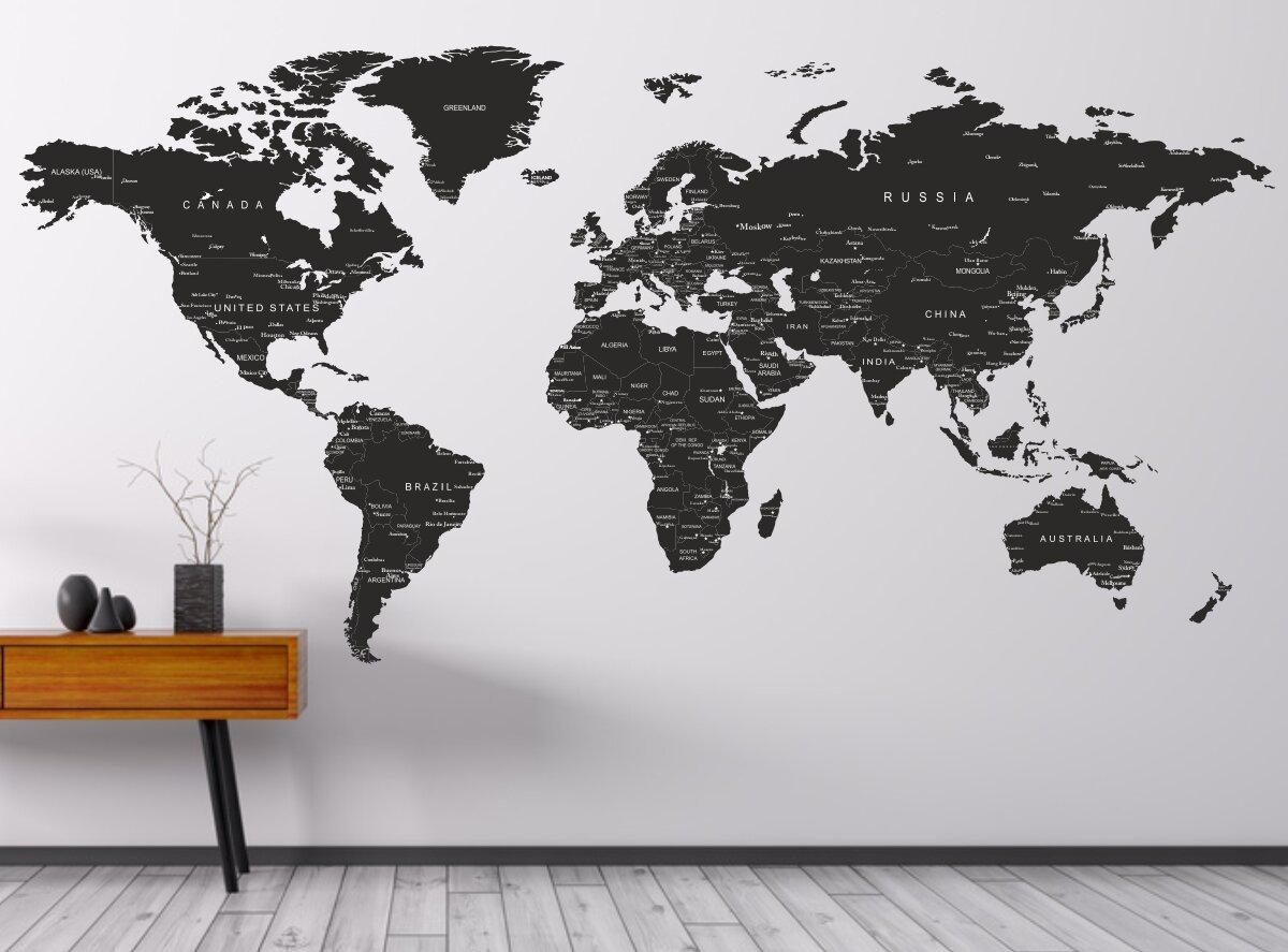 Печать интерьерных наклеек карта мира в Москве | фото 3