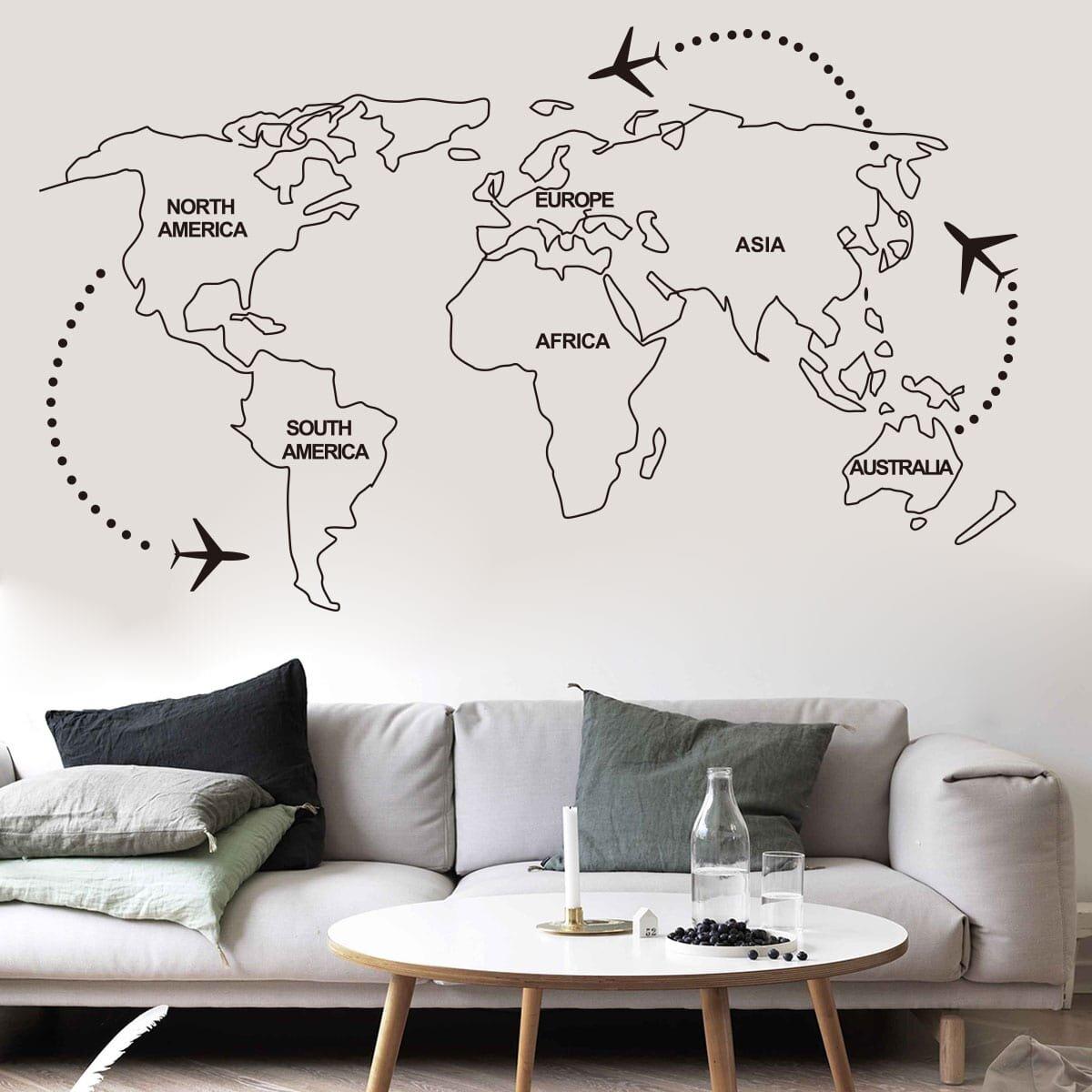 Печать интерьерных наклеек карта мира в Москве | фото 2