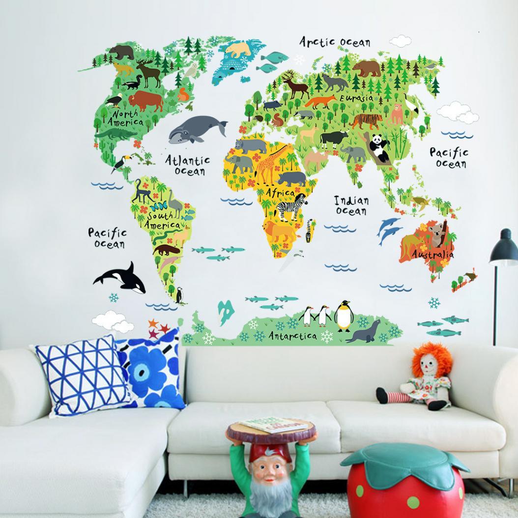 Печать интерьерных наклеек карта мира в Москве | фото 1
